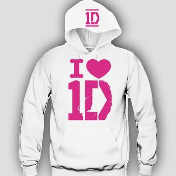 "I Heart 1D Pink ""2Prints"" Unisex Hooded Sweatshirt Funny and Music"