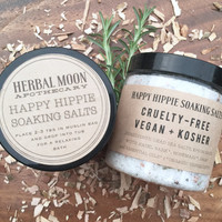 8oz HAPPY HIPPIE aromatherapy soaking salts // witch hazel bark, rosemary, sage, essential oils // vegan friendly, organic bath salts