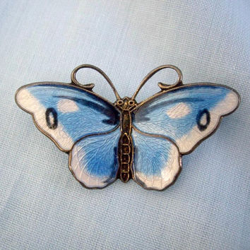 Norway Sterling and Blue Enamel Butterfly Pin