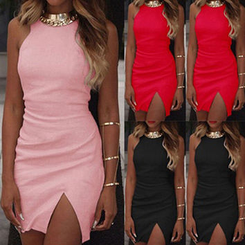 Women's Summer Fashion Sexy Slit Sleeveless Bodycon Cocktail Mini Dress