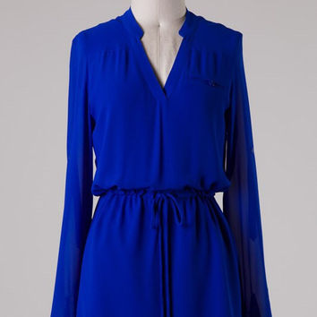 Cambria 3/4 Sleeve Dress - Royal
