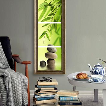 3 Pcs/Set Bamboo and Stone Modern Canvas Wall Paintings Canvas Prints vertical forms Artist
