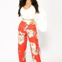 Floral Garden Satin Stretch Pants - Red