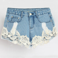 Blue Lace Panel Denim Shorts