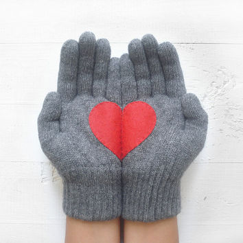 VALENTINE'S DAY Gift, Heart Gloves, Grey Gloves, Steel Gray Gloves, Red Heart, Special Gift, Valentine Gift, Love, Gift For Her, Woman Gift