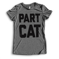 Part Cat | on an Athletic Grey Next Level Apparel Ladies' Tri Blend Crew Shirt