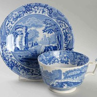 Spode Blue Italian Teacup & Saucer Plate Countryside Sheep and Horses