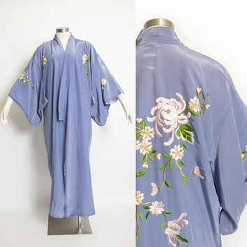Vintage 1970s Kimono - Periwinkle Blue Rayon Gold Embroidered Floral Japanese Robe - Medium - XL