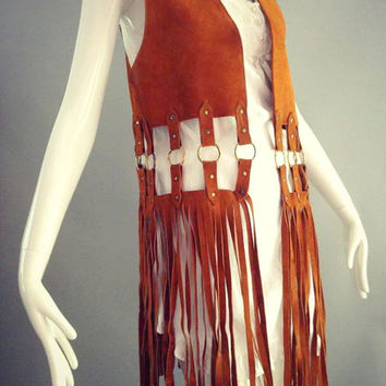 ViNtAgE 60's 70's Suede FRINGE leather Vest Extra Long Fringe Woodstock Era Leather Rocker Hippie Gypsy Festival Ring + Stud Detail