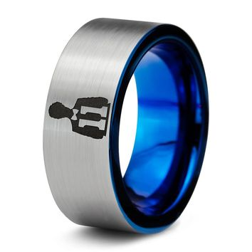 Doctor Who 11th Time Lord Silver Blue Tungsten Ring