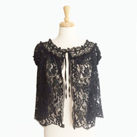 1950's Bed Jacket ~ Black Floral Lace ~ Scalloped Edge ~ Boudoir ~ Lingerie ~ 50s Vintage