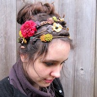 Floral Headband  Bohemian Folk Flowers & by BloomDesignStudio