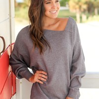 Heather Gray Tunic with Asymmetrical Hem