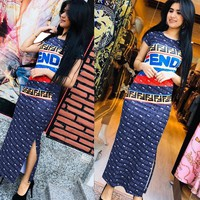 FENDI Newest Summer Popular Women Sexy Print Short Sleeve Dress