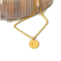 Gold Initial Hand Stamped Charm Necklace, One letter monogram on gold disc