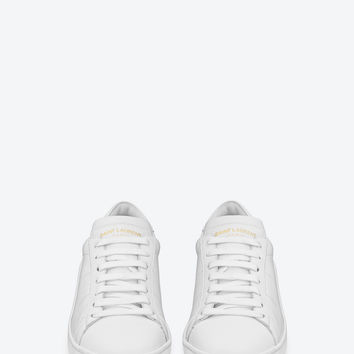 SAINT LAURENT SIGNATURE SL/01 CLASSIC COURT SNEAKER IN OPTIC WHITE LEATHER | YSL.COM