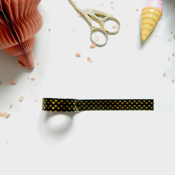 Kawaii Black Washi Tape with Gold Hearts, Metallic Tape, Deco Tape, Cute Planner Tape, Masking Tape