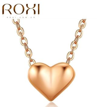 Rose Pendant Necklace  Gold Chain Collares