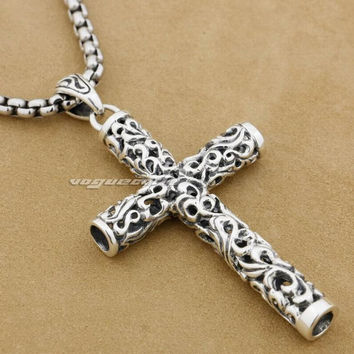 Cylinder Cross Stainless Steel - 925 Sterling Silver Chain
