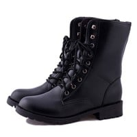Vintage Women Round Toe Faux Leather Combat Boots Lace-up Mid-calf Martin Shoes