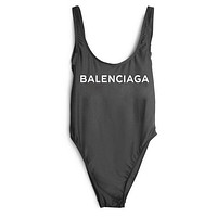 Balenciaga 2018 New Women's Sexy Fashion Siamese Bikini Swimsuit F-ZDY-AK black