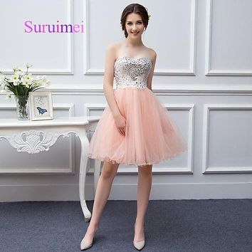 Fast Delivery Sweetheart Coral Pink Mini Prom dresses 2017 Real photo Prom Party Gowns For Women Free shipping