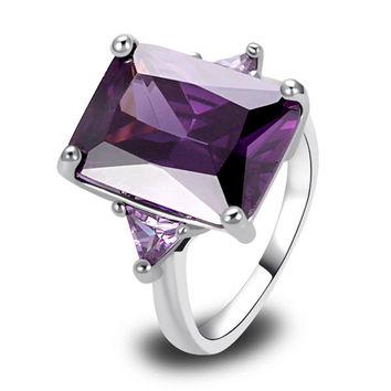 Fashion Exquisite Crown Large Stones Amethyst 925 Silver Ring Size 7 8 9 10 New Charming Jewelry Wedding Ring Womans Gift