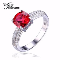 JewelryPalace Cushion 2.6ct Created Red Ruby Solitaire Engagement Ring 925 Sterling Silver Ring Fashion Design Fine Jewelry
