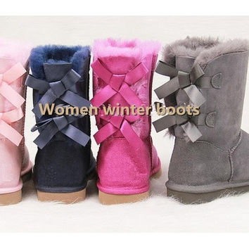 New HOT Australia Classic Tall Ug Women Winter Boots Brand Real Leather Back Bailey Bow Decoration Snow Boots Shoes,Size US5-13 [8323193281]