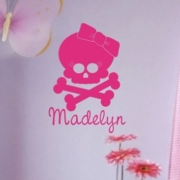 Wall Decals Girl Skull with Bow  Vinyl Wall by singlestonestudios