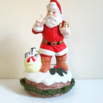 Vintage Santa Music Box 1980s Seymour Mann Bisque Porcelain Santa is Coming to Town