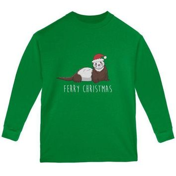 CREYCY8 Ferry Merry Christmas Ferret Youth Long Sleeve T Shirt
