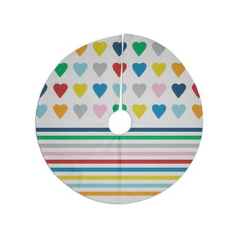 "Project M ""Heart Stripes"" Rainbow Shapes Tree Skirt"