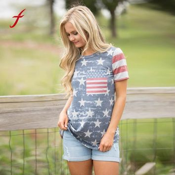 2017 Summer T-shirt Women Casual Top Tees Cotton Tshirt Female Brand Clothing T Shirt Printed American Flag Tops Brand Clothing