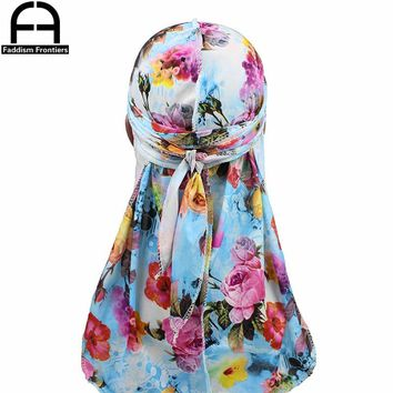 Fashion Men's Print Silky Durags Bandanas Turban Headband Silk Men DuRag Floral Waves Caps Turban Headwear Hair Accessories