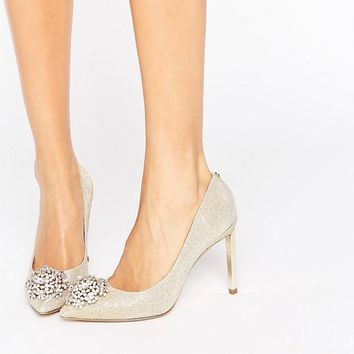 Ted Baker Peetch Gold Embellished Courts at asos.com