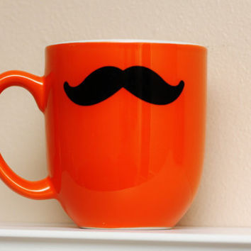Mustache Mug  Orange  Coffee Tea Latte by TheBeautifulHome on Etsy
