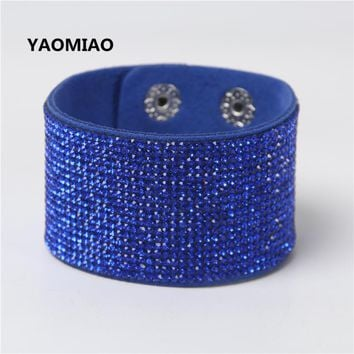 YAOMIAO Fashion Jewelry Leather Trendy Crystal Alloy Rhinestone Wide Warp Casual Classic Bright Blue Bracelets For Lover