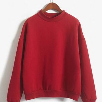 women sweatshirt Europe and the United States candy color code loose long sleeve harajuku pullover cashmere