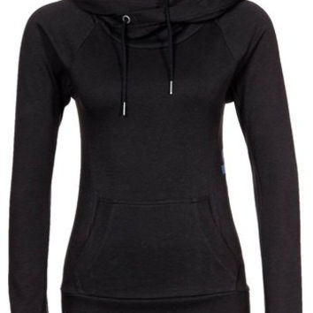 Black String Hooded Long Sleeve Hoodie