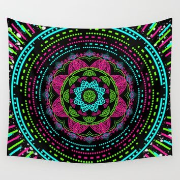 Mandala Energy in Neon Wall Tapestry by Starflyer Art