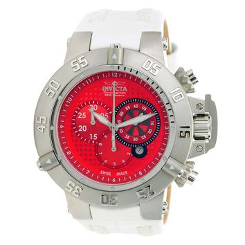 Invicta 80661 Men's Subaqua Noma III Chronograph Red Dial White Leather Strap Dive Watch