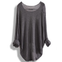 Long-sleeved knit shirt blouse hollow JCBB