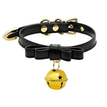 AUGUAU Handmade Cosplay Lolita Kitty Bell Collar Leather Bow Choker Necklace