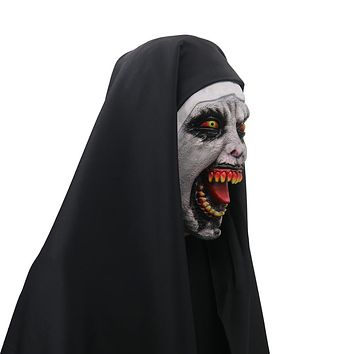 The Nun Valak Cosplay Mask Latex Horror Masks Halloween Props Party Accessory Halloween Scary Masks Terror Toys Nun Costumes