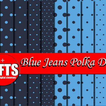 Blue Jeans Polka Dots Digital Scrapbook Sheets DIY indigo & navy blue background invitation card polkas craft party supplies graphic design