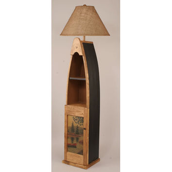 Coast Lamps Wooden Boat Floor Lamp With Cabinet Door With Black Accent