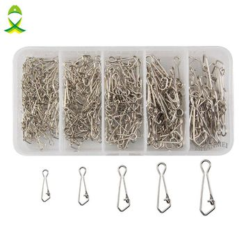 JSM 260 Pcs/Box Safety Snaps Fishing Hooks Connector Stainless Steel Hook Lock Snap Swivels Solid Rings