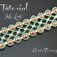 My Lady - superduo bead pattern, beaded lace bracelet pattern, seed beads pattern, beading tutorial, lace bracelet  / TUTORIAL ONLY