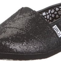 TOMS Women's TOMS CLASSICS CASUAL SHOES (size 5.5 US) (BLACK GLITTER)